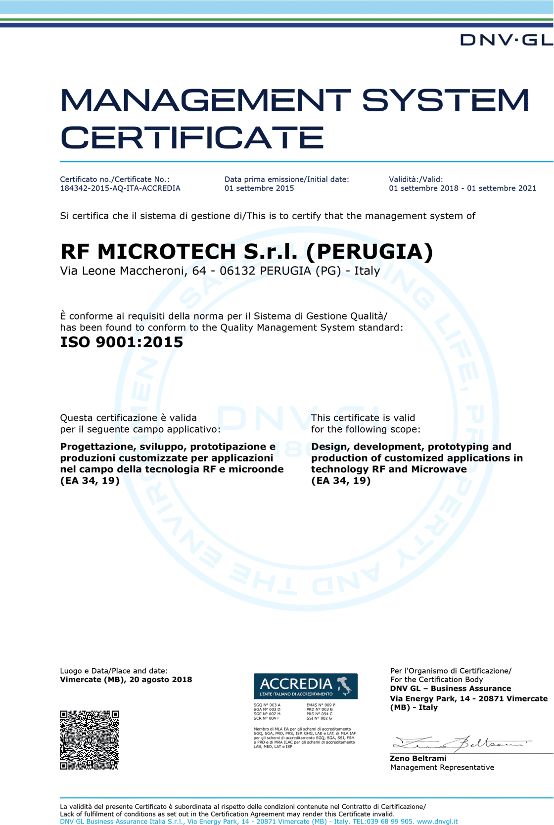 RF Microtech SRL ISO 9001 Quality System Certification